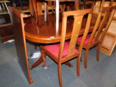 A set of four early 20thC mahogany dining chairs, together with a pedestal dining table, 78cm