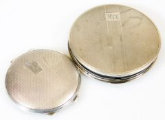 A George VI silver powder compact, of circular form, partially engine turned and initialled with a p