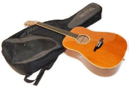 An SX Custom six string acoustic guitar, DG26/BN number 0187264, 105cm wide, in Ritter canvas case.