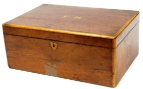 A 19thC mahogany vanity box, of rectangular form the lid with a cross banding initialled FH, blind f