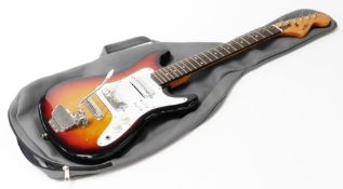 A Satellite six string electric guitar, in black, red and yellow colourway, 94cm wide, in associated