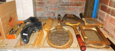 Bygones, collectables, ice skates, 23cm high, tennis rackets with stretchers, vintage table tennis s