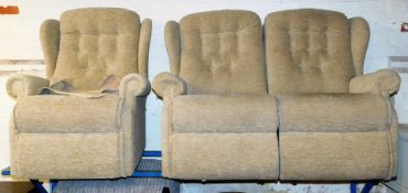 Withdrawn pre sale. A two seater settee and a single armchair.