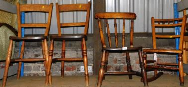 A pair of elm kitchen chairs with triple ring turned front legs, 83cm high, a further spindle back c
