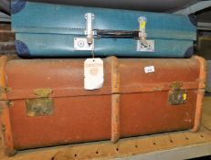 A wooden bound dome top travel trunk, 75cm wide, and another travel case. (2)