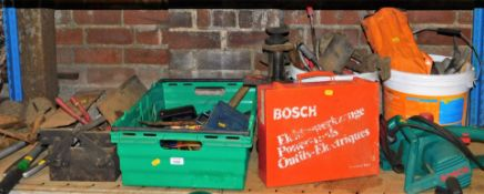 Various tools, accessories, cantilever tool box, 47cm high, tape gun, electrical items, Bosch and ot