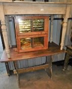 A 19thC pine plank top kitchen table on turned legs, 103cm wide, hanging cupboard and a further tabl