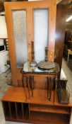 A pine door, 210cm high, 86cm wide, 5cm deep, hanging mirror, TV stand, nest of tables, wire work ne