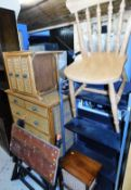 A wicker style bedroom suite comprising pedestal cabinet of three drawers and a chest of two short a