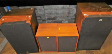 A Sony Norwegian 5300 speaker set, 70cm high, and two other smaller Wharfedale speakers.