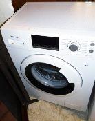 A Hisense WFU6012 washing machine, 89cm high, 60cm wide, 42cm deep.