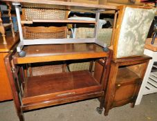 A retro teak side table, dinner wagon, 80cm high, 78cm wide, 37cm deep, stool and an oak pedestal ca