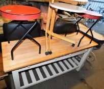 Retro stools with leatherette finish tops, 45cm high, 38cm diameter, a light wood side table, etc. (