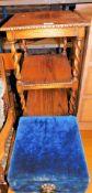 An oak barleytwist side table and an upholstered stool. (2)