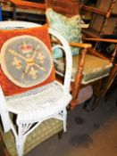 A Lloyd Loom style armchair, open armchairs, others with fixed seats with bergere backs, 61cm high,