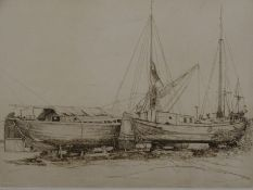 *Michael Chaplin (American). Two Dutch Barges, etching, first state Proof, 35cm x 45cm.