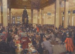 *•After Terence Cuneo (British 1907-1996). The Underwriting Room at Lloyds, lithograph, 44cm x