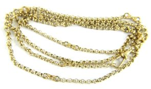 A 9ct gold longuard chain, with belcher links and larger modern twist/cross link breaks, with single