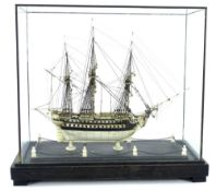 A bone prisoner of war type model of a three masted frigate,