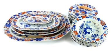 An early 19thC Masons patent Ironstone part dinner service, decorated in oriental style with Imari