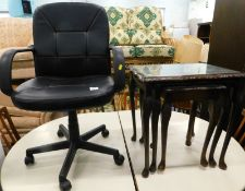 A swivel office and a nest of three tables with tooled leatherette tops, on cabriole legs