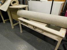 An Ercol type foldover top side or dining table, a matching coffee table etc cream side table, two