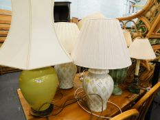 Various table lamps and shades, 62cm high, etc., (a quantity).
