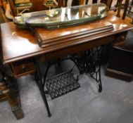 A treadle sewing machine on cast iron stand, and two part mirrors, (a quantity).