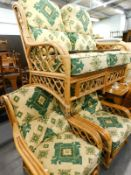 A bamboo finish patio suite, comprising two seater settee, 124cm wide, and two armchairs, each
