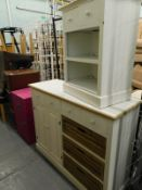 A collection of furniture, to include a travelling trunk, pink two drawer filing cabinet, painted