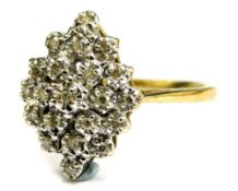 A 9ct gold dress ring, with central cluster set with tiny diamonds, each in illusion setting of thre