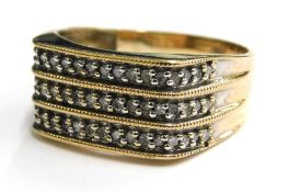 A 9ct gold gents signet ring, set with three rows of tiny diamonds, each in platinum claw setting, w