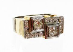 A double diamond Art Deco style geometric ring, set with two old cut diamonds 4.2mm x 4.2mm x 3mm ea