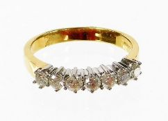 An 18ct gold half hoop diamond eternity ring, set with seven round brilliant cut diamonds, each in c