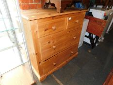 A waxed pine chest of two over two drawers, 92cm high, 91cm wide, 40cm deep.