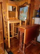 Household effects, comprising tea trolley, bar chair, mirror, fire screen and a Sutherland table. (