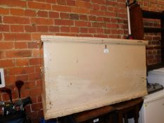 A Victorian pine blanket chest, painted beige, 49cm high, 89cm wide, 47cm deep.