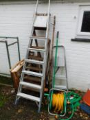 Withdrawn Pre-Sale by Executors. Three step ladders, various garden hand tools, director's chair,