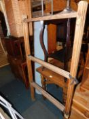 An oak draw leaf table, pine airer, oak occasional table and a red and chrome bar stool. (4)