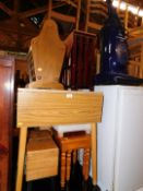 Household effects including drop leaf table, kitchen table, magazine rack, sewing box, stool,