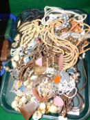 Wooden and metal costume jewellery, including necklaces and chokers. (1 tray)