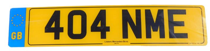 404 NME. A cherished registration plate, currently held on retention.To be sold upon instructions