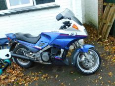 A Yamaha FJ1200 motorcycle, Registration J598 BUY, 48,559 recorded miles.
