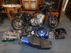 A Kawasaki KZ1300 project motorcycle, Registration GRU 911V, a part finished restoration project. (