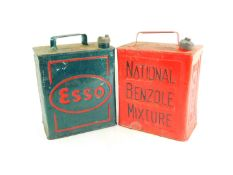 A National Benzole Mixture red oil can, together with an Esso green oil can. (2)