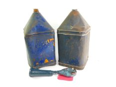 A pair of Tanks and Drums Ltd blue oil drums, of square form, one bearing traces of a label, 52cm