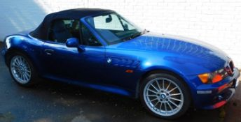 A BMW Z3 Roadster, V832 LEC, manual, blue piped interior, mileage 44,855, first registered 1/9/
