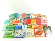 Haynes workshop manuals, to include Volvo 340 and 360., Ford Sierra and Mondeo., Nissan Primera.,