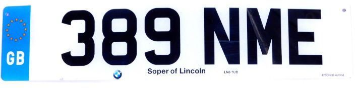 389 NME. A cherished registration plate, currently held on retention.To be sold upon instructions