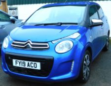 A Citroen C1 hatchback, Registration FY19 ACO, only 103 miles recorded, blue, automatic.To be sold